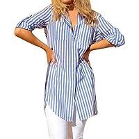 Geili T-Shirt Damen,Mode Frauen Gestreift Lange Ärmel Taste Fronttasche T Shirt Oberteile Damen Lose Beiläufige... preisvergleich bei billige-tabletten.eu