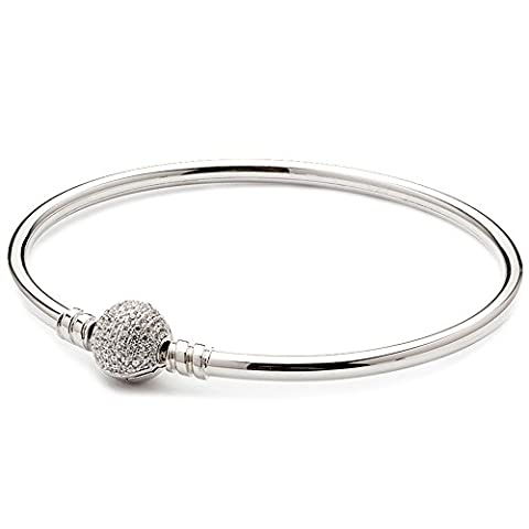 ATHENAIE Authentic 925 Sterling Silver Basic Charm Bracelet Bangle Plated