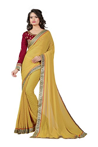 Oomph! Women's Chiffon Saree (Rbaf_1317,Sand Beige,Free Size)