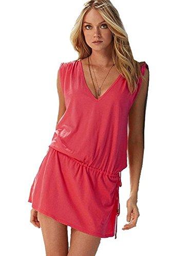 Minetome Femmes d'été V profond Robe De Plage Halter Neck en coton Combishort pink
