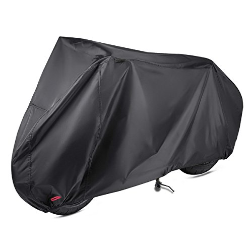 Motorbike Cover, Lookka 190T Nylon Waterproof Motorcycle Cover with Lock-hole and Storage Bag for Indoor Outdoor Dust Rain UV Protection (Extra Large 265cm)