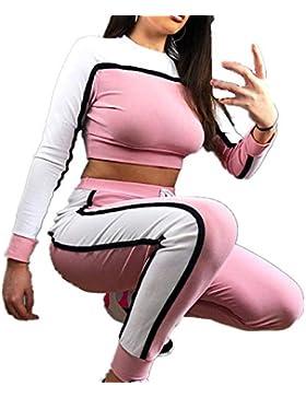 25258f719 SHOBDW Mujer Liquidación Venta Sudadera para A Rayas Sexy Pantalones de  Chándal de Cuello Redondo Establece