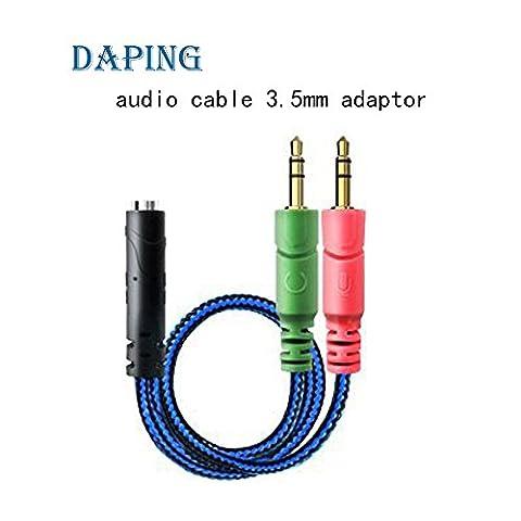Daping Câble Audio 3.5mm Câble Adaptateur Jack Stéréo Audio 3.5 mm Audio Y Câble Adaptateur 2 x 3,5 mm mâle pour casque PS4 PC Gaming 1 x jack 3,5 mm Femelle