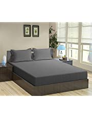 Trance Home Linen Cotton 210 TC King Fitted Bedsheet, 78x72 with 2 Pillow Covers (Steel Grey)