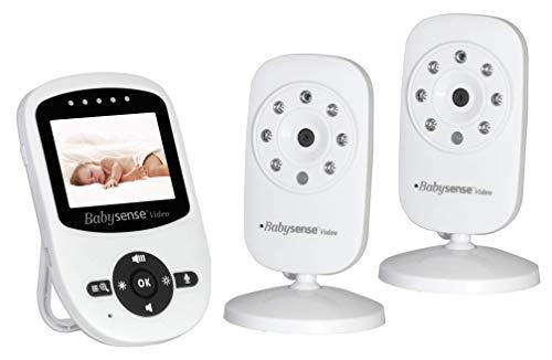 Video Baby Monitor Babysense con 2 Videocamere | Visione Notturna a Raggi Infrarossi | Comunicazione Audio a Due Vie, Temperatura della Stanza  Esteso Raggio D'azione | Model:V24_2UK