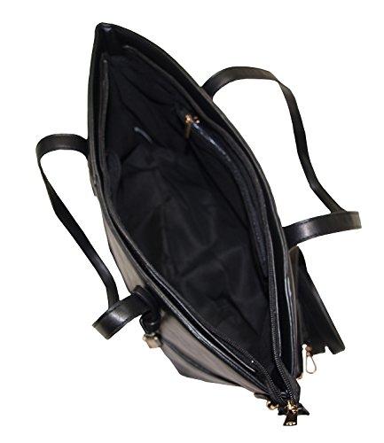 Damen Handtasche Shopper mit zusätzlichem verlängerbaren Henkel Henkeltasche Schultertasche Tasche Umhängetasche Bag DH0004 (Braun - 1723) Schwarz - 1723
