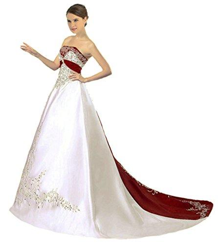 Vantexi Damen Trägerloses Wulstige Stickerei Hochzeitskleid Brautkleider Elfenbein Burgund 40