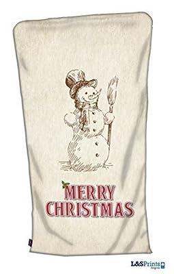 Deluxe géant Joyeux Noël Bonhomme de neige Père Noël Design Grunge Chaussette Super Taille fabriqué dans le Yorkshire