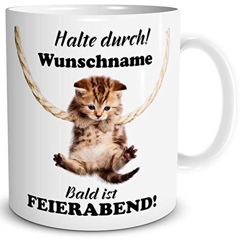 TRIOSK Personalisierte Katzen Spruch Tasse mit Namen als lustiges Geburtstag Geschenk für Katzenliebhaber Frauen und Mädchen