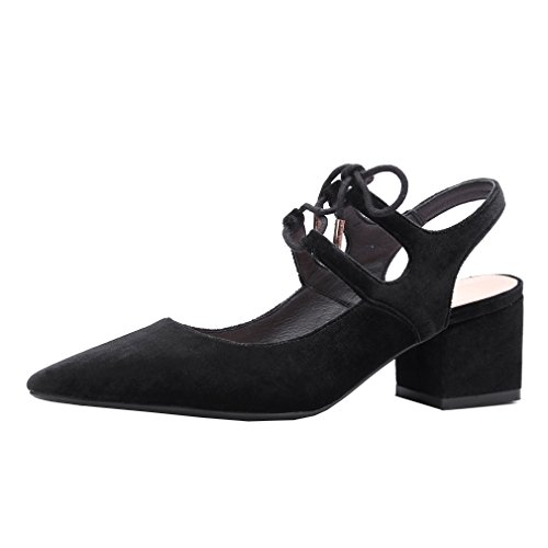 ENMAYER Femmes Nubuck Matériel Sandales Pointed-Toe Square Heels Ladies Dress Shoes Noir