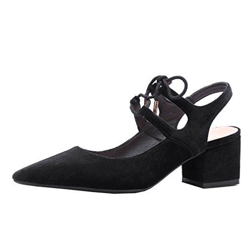 ENMAYER Femmes Nubuck Matériel Sandales Pointed-Toe Square Heels Ladies Dress Shoes Noir