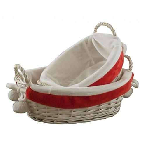 Lot de 2 paniers en osier ovale doublé Rouge et Blanc Décoré