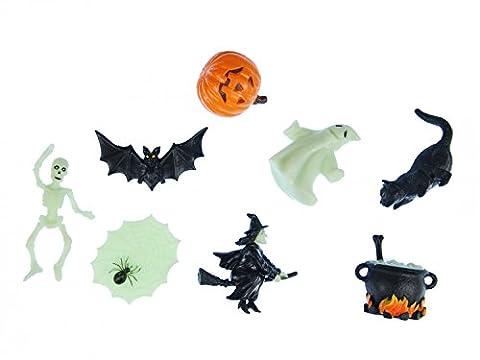 7x Halloween Support Figurine miniblings caoutchouc animaux sorcières Bouilloire Esprit citrouille mix