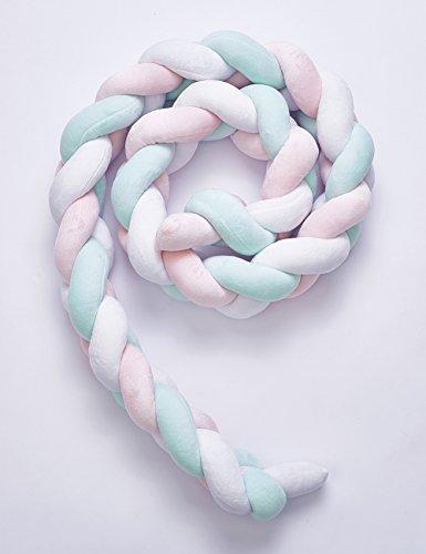Keil Stützkissen (DDLL Keil- & Stützkissen Baby Bett Stoßstange Knoten Design Neugeborenen Krippe Pad Schutz Kinderbett Stoßstangen Für 2 Mt,Pink)