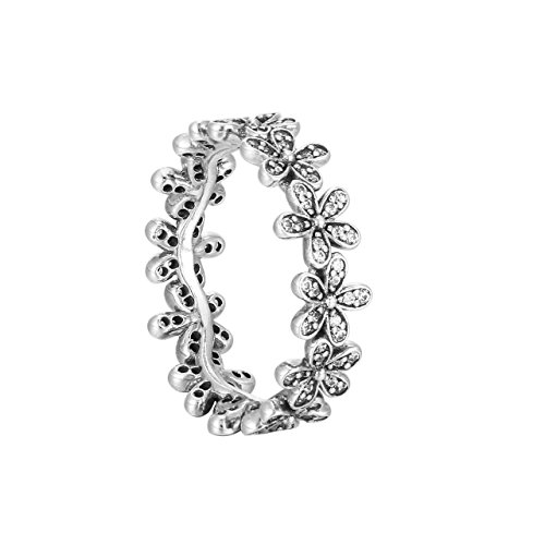 Pandora anello per donna, argento 925, motivo: margherite, con zirconi bianchi - 190934cz, argento, 10, cod. 190934cz-50