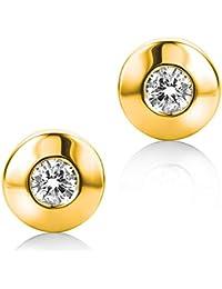 Diamada Femme or jaune en diamant solitaire boucles d'oreilles 9kt (375) brillant 0.1cts