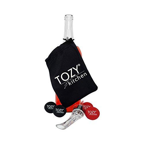 Wein Stopper Set mit Gratis Premium Wein Luftsprudler und Speicherung Tasche von tozy -