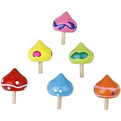 TOOGOO(R) 6 x giro madera divertido en forma de corazon Girocompas Girar superior nino juguete educativo---colorido