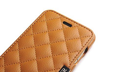 ICARER Mikrofaser Check Series echt Leder Tasche Hülle Schutzhülle für Apple iPhone 611,9cm rose