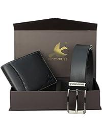 HORNBULL Combo Men's Black Leather Wallet and Belt(BW9396)