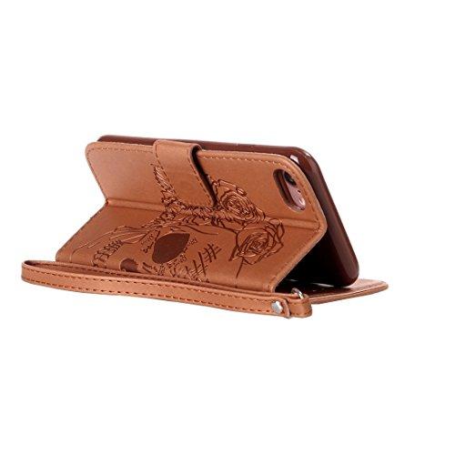 Für iPhone 7 verrückte Pferdebeschaffenheits-Schädel-Drucken-horizontaler Schlag-Leder-Kasten mit Halter u. Karten-Schlitzen u. Mappe u. Abzuglinie für iPhone 7 by diebelleu ( Color : Gold ) Brown