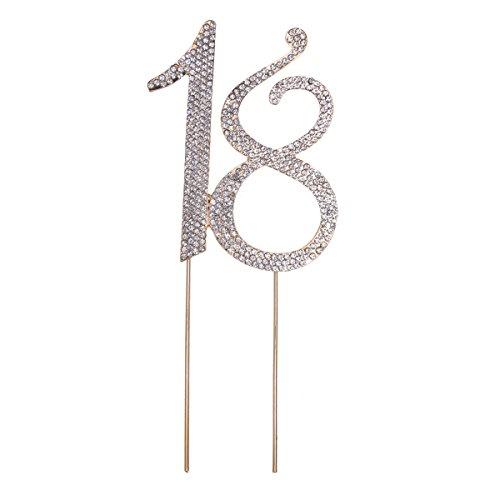 STOBOK Kuchen Topper Strass 18 Zahl Kuchendeckel Kuchendekoration für Erwachsene Zeremonie Jahrestag Geburtstag Party Zubehör (Golden) (Topper Kuchen Bei)