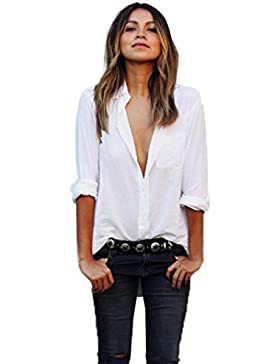 Amlaiworld Cuello en V manga larga bolsillo flojo camisas