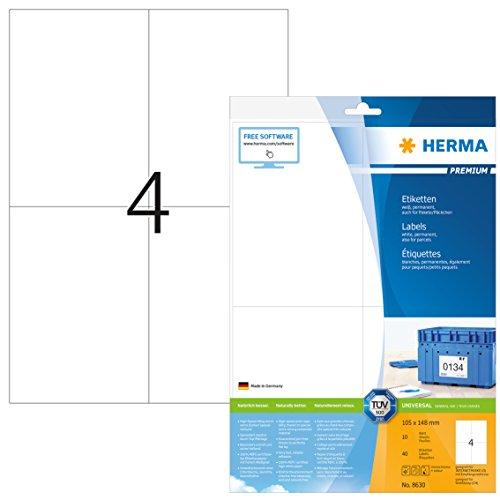 Herma 8630 Universal Etiketten (DIN A6 Format 105 x 148 mm) weiß, 40 Aufkleber, 10 Blatt A4 Premium Papier matt, bedruckbar, selbstklebend