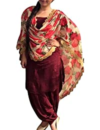 Surat4fashion Women's Maroon Cotton Silk Patiala Salwar Suit Set(ST109_Maroon_FreeSize)