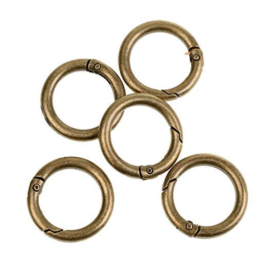 Sharplace 5tlg. Packung Innenmaß 20mm Rundring Schnapp- Karabiner Schlüsselringe - Bronze