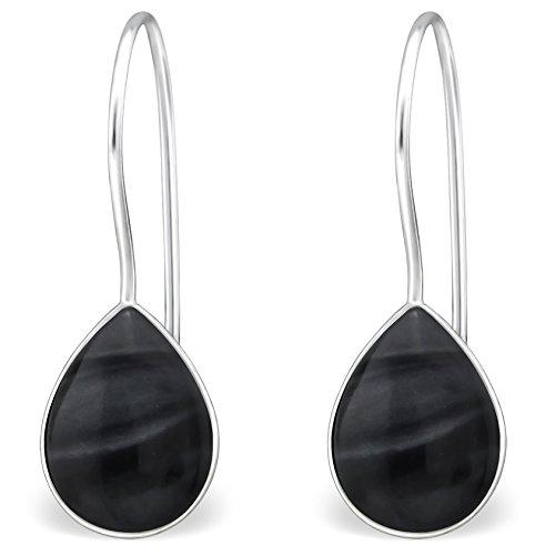 EYS JEWELRY Damen-Ohrhänger Träne Tropfen 925 Sterling Silber Perlmutt Muschel 20 x 6 mm schwarz Ohrringe