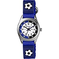 Tikkers Boy's Quartz Watch with White Dial Time Teacher Display and Blue Fabric And Canvas Strap TK0122