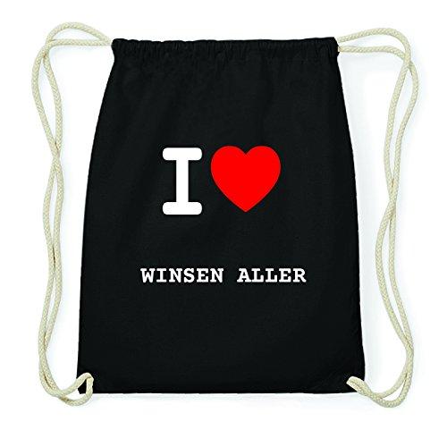 JOllify WINSEN ALLER Hipster Turnbeutel Tasche Rucksack aus Baumwolle - Farbe: schwarz – Design: I love- Ich liebe - Farbe: schwarz