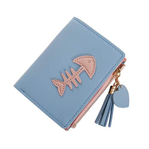 SUNSKYOO Damen Short Wallet PU Leder Fish Bone Print Fashion 2-Fach Quaste Anhänger Zipper Button Wallet, Hellblau