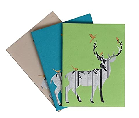 Back To School Handmade Hardbound Diary Notepad Notebook Travel Record Book Sketchbook Personal Journal Book Set of 3 Traditional 48 Sheets 96 Unlined Pages Sketch Drawing Note Book (20X15)