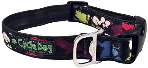 Cycle Dog Bottle Opener Black Base Paint Splatter Dog Collar, Large