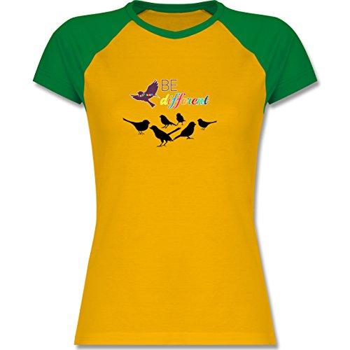 Shirtracer Statement Shirts - Be Different - Zweifarbiges Baseballshirt/Raglan T-Shirt für Damen Gelb/Grün