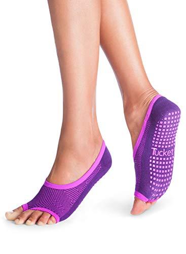 Tucketts Calcetines Yoga Pilates Antideslizante Deporte Mujer, Colchoneta Deporte Accesorios Yoga, Calcetín Dedos para Ballet, Barra Fitness, Danza, Running (UVA)