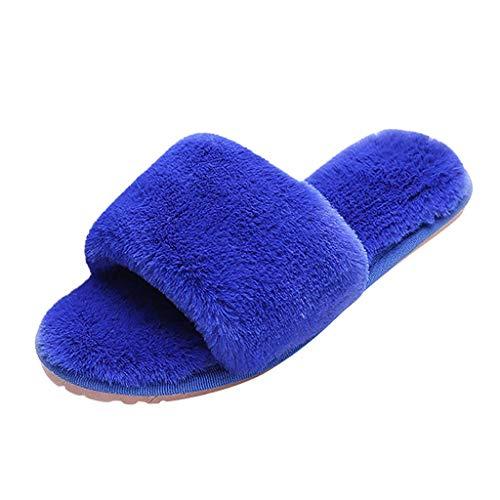DOLDOA Winter Hausschuhe Damen,Frauen Damen Hausschuhe weiche Schuhe Flip Flop Open Toe House Outdoor Sandalen -