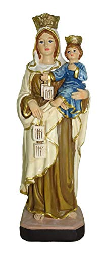 Ferrari & Arrighetti Estatua Virgen del Carmen de 12 cm con Caja de Regalo y marcapáginas (en ES/IT/FR/IN)