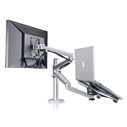 Zolion® Adjustable Aluminium Desk Monitor Stand Monitor Bracket Clamp Tilt & Swivel Desk Monitor Stands Monitor TV Mount Television Desk Bracket Universal Laptop Notebook & Computer Monitor MackBook and iPad LED TV LCD TV stand TV Brackets Universal TV VESA Monitor Stand (Laptop & Monitor)