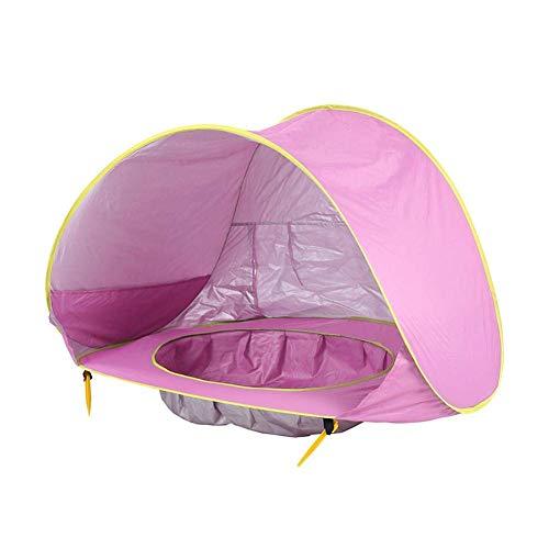 Azbza Baby Strand Zelt UV-Schutz Sonnenschutz Kinder Spielzeug kleines Haus wasserdicht Pop Up Markise Zelt tragbare Ball Pool Kinder Zelte (Pulver) -