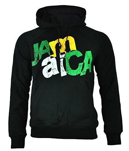 Puma Jamaica Uomo Felpa con cappuccio Hoody maglietta felpata nero, Dimension:S