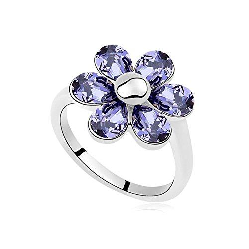 KnSam Ring Damen Vergoldet Ehering Vergoldet Blume mit Zirkonia Größe 53 (16.9) bis 57 (18.1) 12