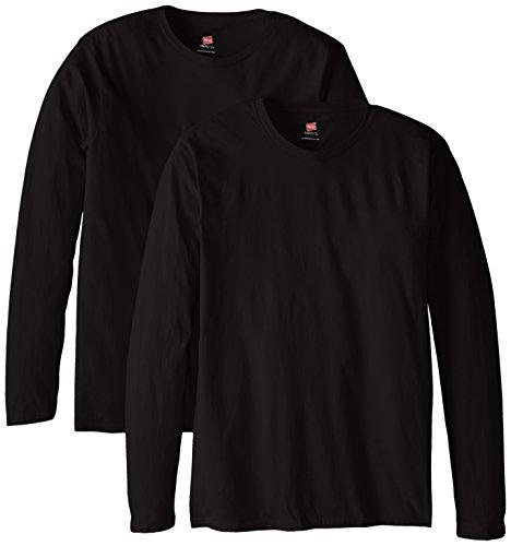 Hanes Maglietta a maniche lunghe maglietta Premium (confezione da 2) Black