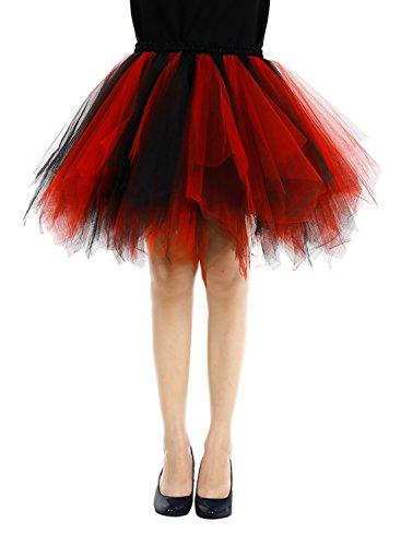 Bbonlinedress Kurz Retro Petticoat Rock Ballett Blase 50er Tutu Unterrock Black-red (Passt Blase)