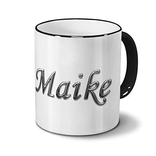 Tasse mit Namen Maike - Motiv Chrom-Schriftzug - Namenstasse, Kaffeebecher, Mug, Becher, Kaffeetasse - Farbe Schwarz