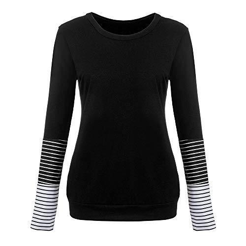 LUGOW Langarmshirts Damen T Shirt Damenmode Pullover Tuniken Sweatshirt Tops T-Shirt Blusen Streifenmuster Patchwork Bluse Oberteil Bluse Tunika(Medium,Schwarz) Grüne Cord Jumper