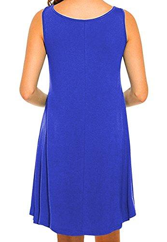 OMZIN Frauen Sleeveless Baumwolle beiläufiges Sleeveless ausgestelltes Behälter-Kleid S-2XL 1-Blau