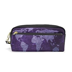 zzkko mundo MPa morado Funda de piel cremallera lápiz pluma estacionaria bolso de la bolsa de cosméticos bolsa bolso de mano